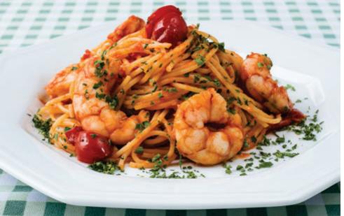Espaguete com camarões